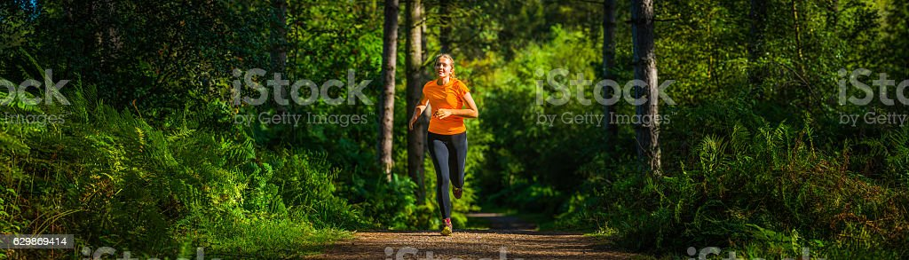 Young woman trail running though idyllic green fern forest panorama stock photo