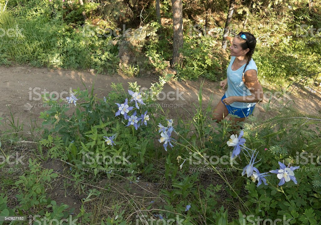 Young woman trail runs Bear Creek columbine flowers Colorado mountains stock photo
