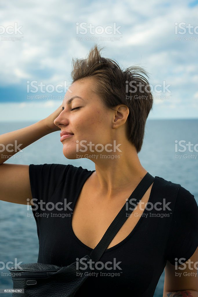 Young woman traveling on the Black Sea stock photo