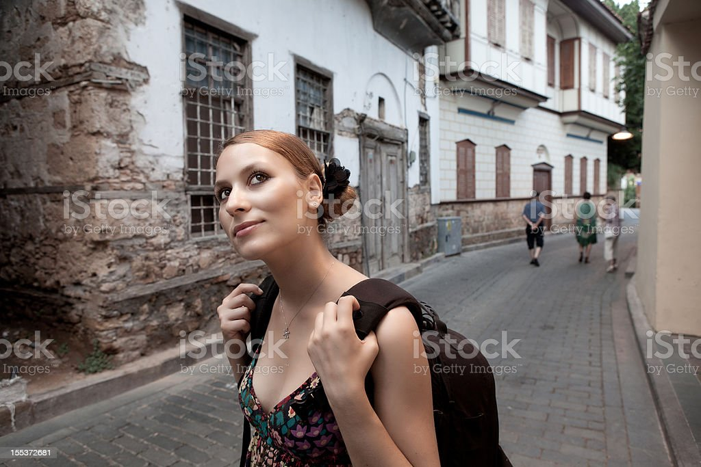 Young woman traveller in Kaleici (old town of Antalya) stock photo