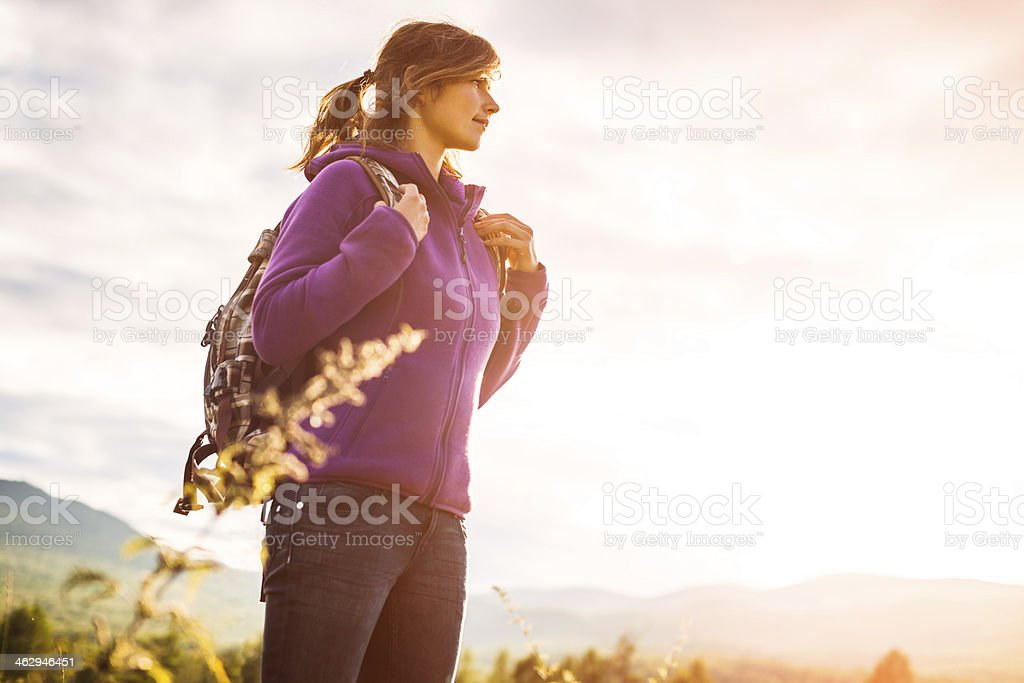 young woman trekking royalty-free stock photo