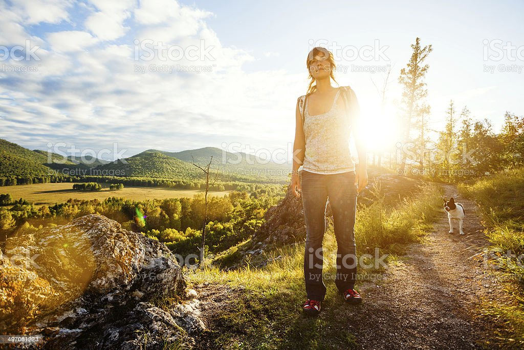 young woman trekking. stock photo