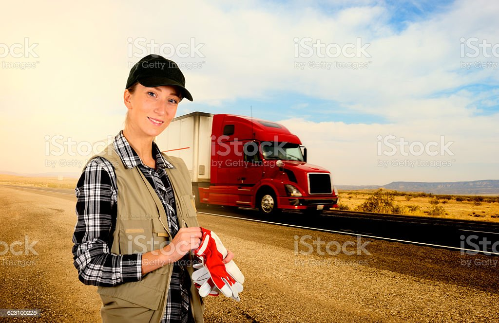 Young woman truck driver stock photo