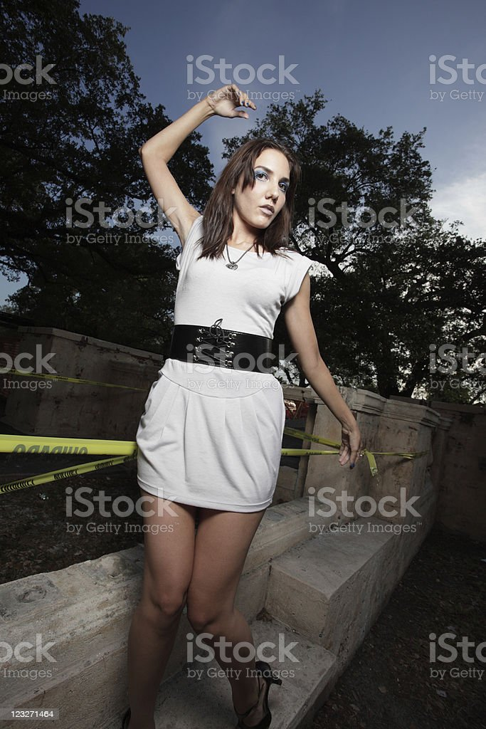 Young woman unusually posing stock photo