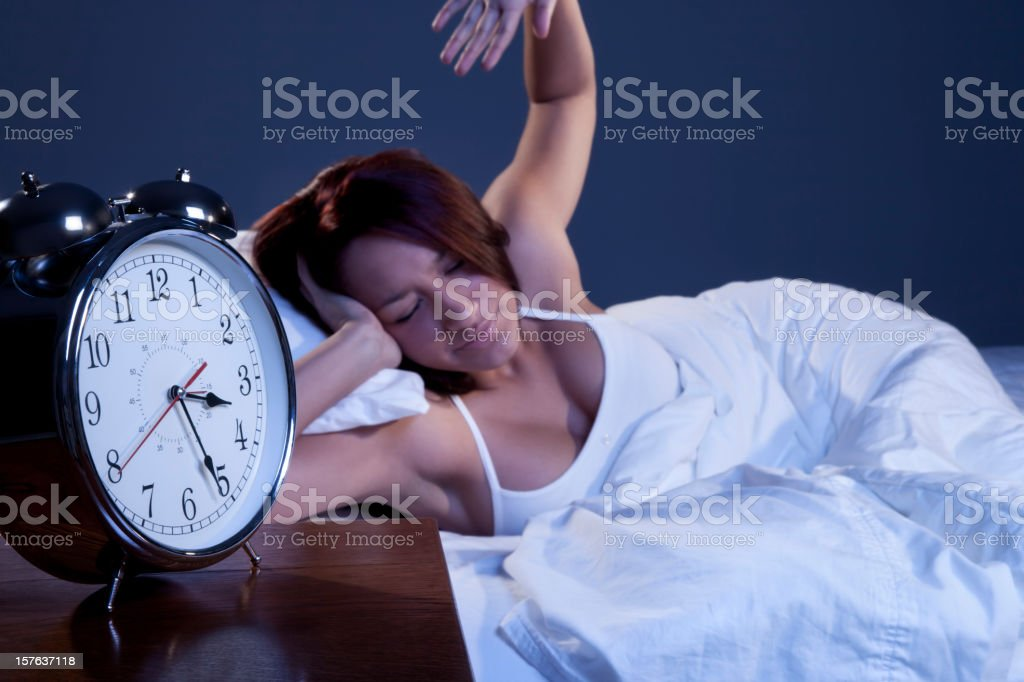 Young Woman Up All Night stock photo