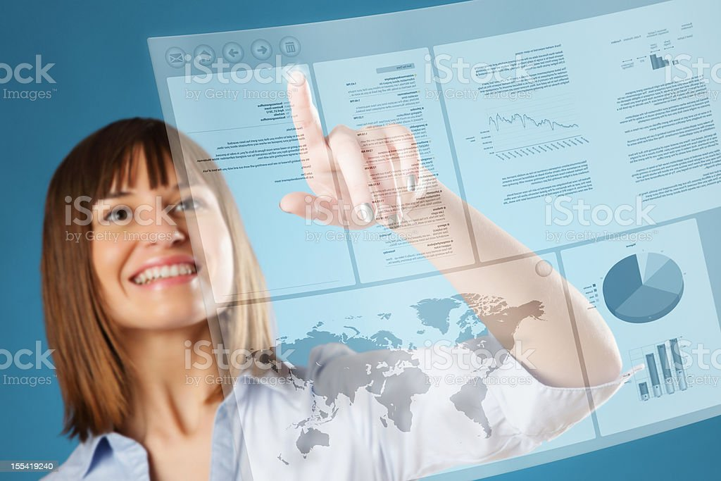 Young Woman using a Futuristic Interface royalty-free stock photo