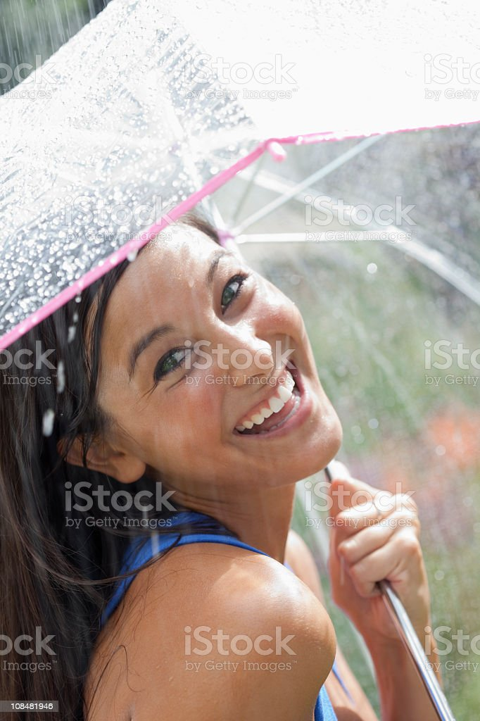 Young Woman Using an Umbrella in Rain royalty-free stock photo