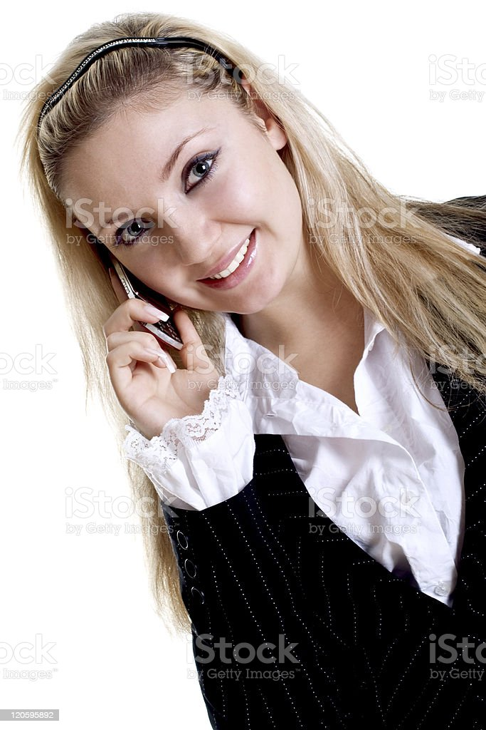 young woman using cellphone stock photo