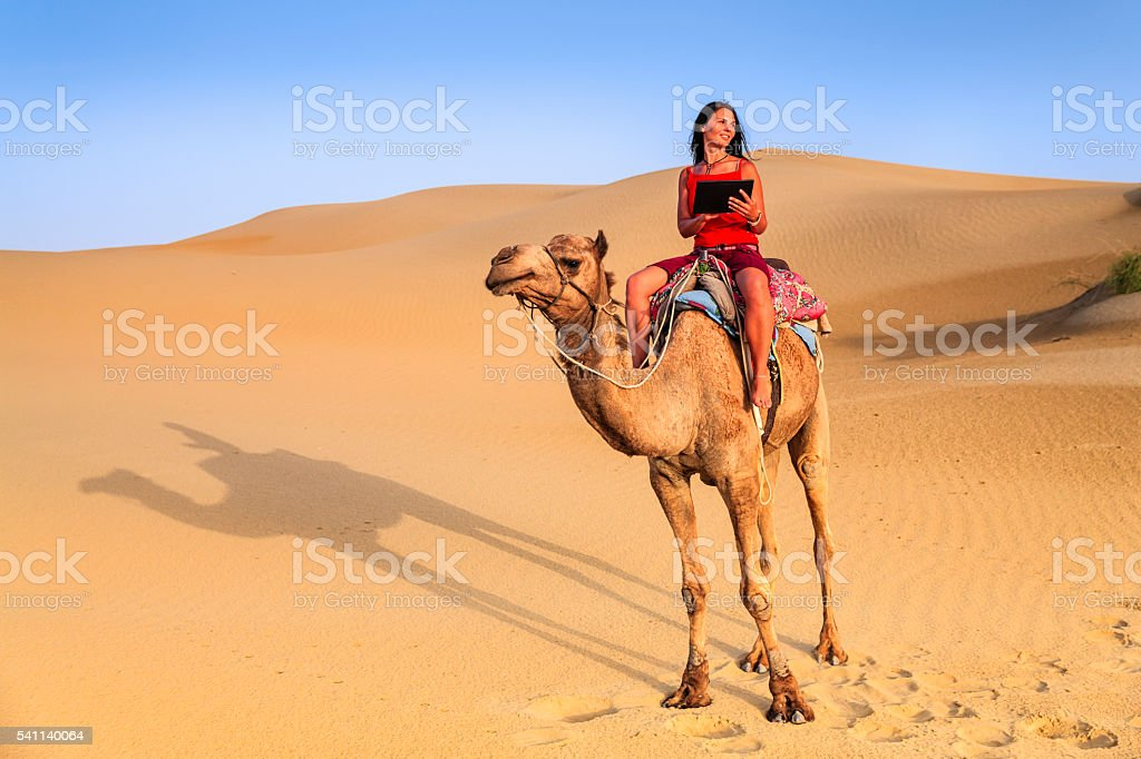 Young woman using digital tablet on camel, Rajasthan, India stock photo
