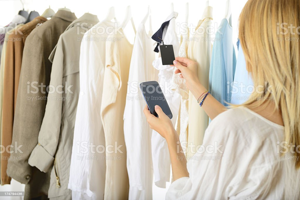 Young Woman Using QR Code stock photo