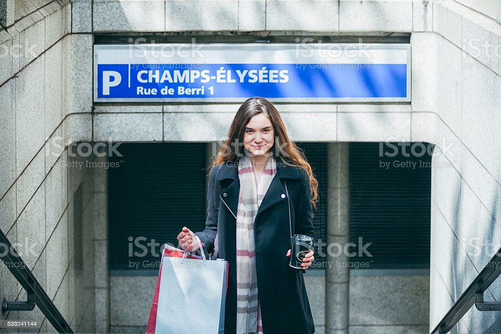 Young woman using subway in Paris stock photo