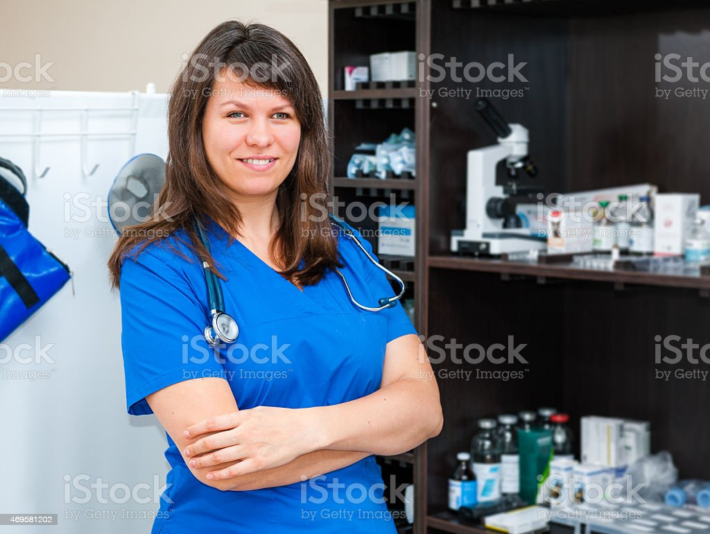 Young woman vet doctor stock photo