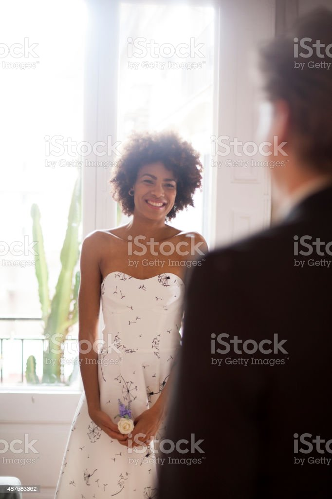 Young woman waiting for his date stock photo