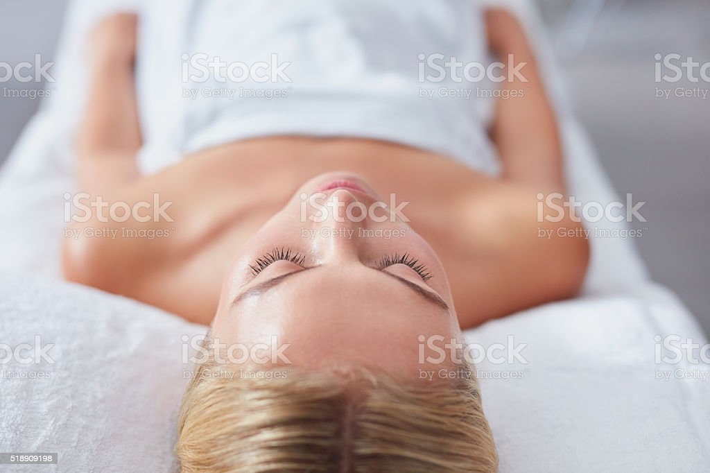 Young woman waiting for spa treatment stock photo