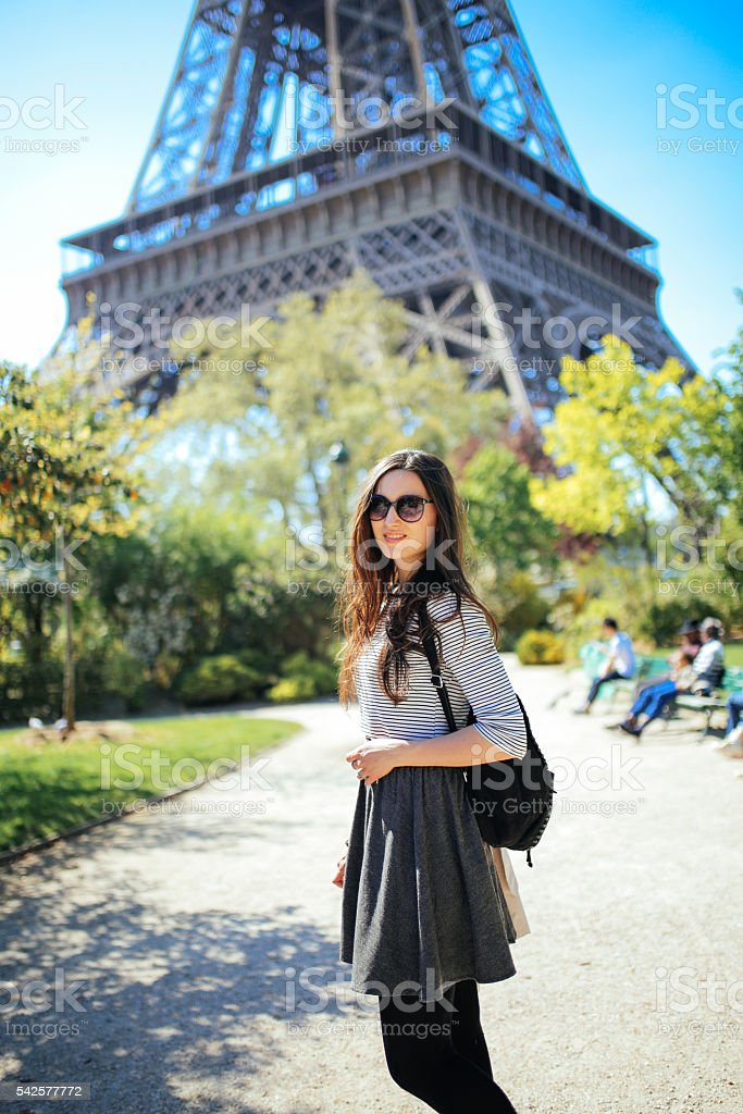 Young woman walking and relaxing in Paris stock photo