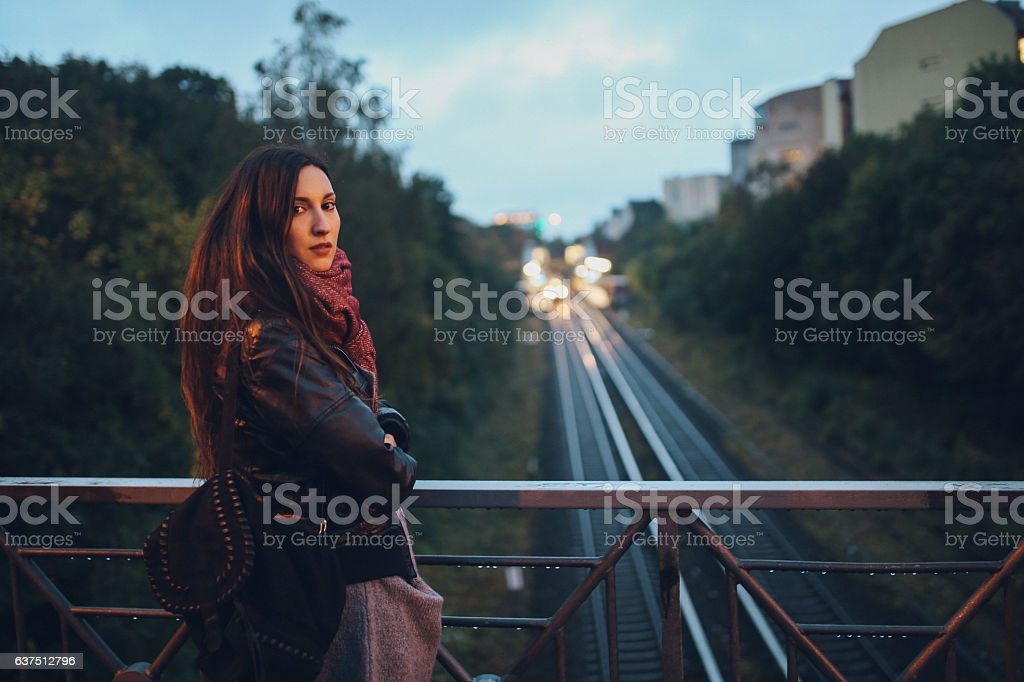 Young woman walking in Berlin Schoneberg district stock photo