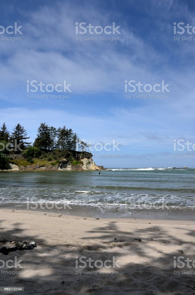Young Woman Walking On The Beach In Sunset Bay State Park, Oregon stock photo