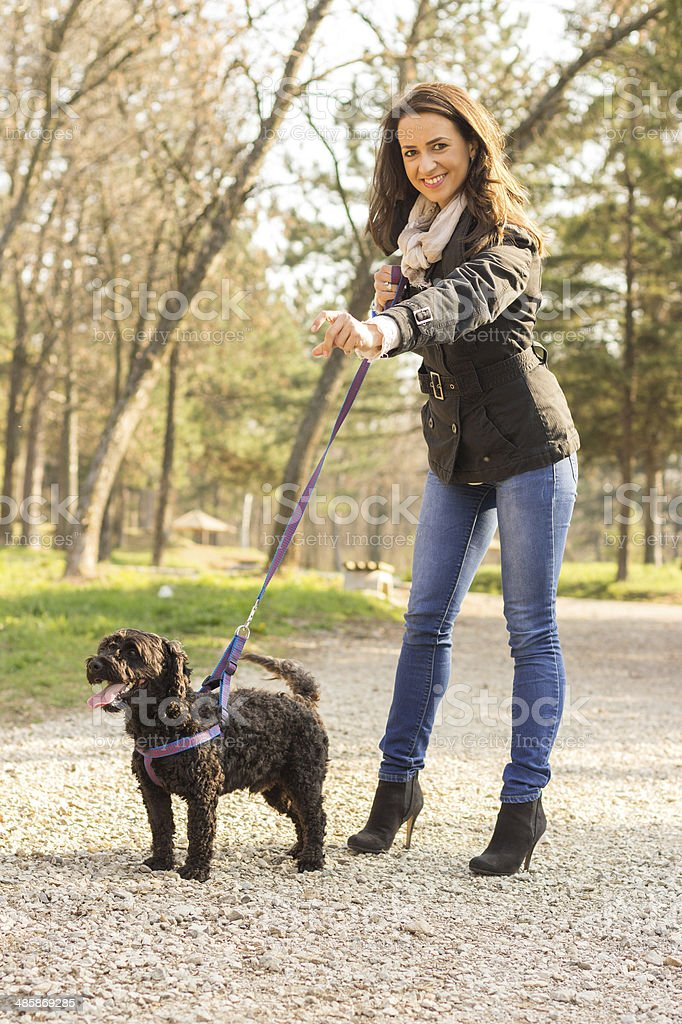 young woman walking with her dog in a park stock photo