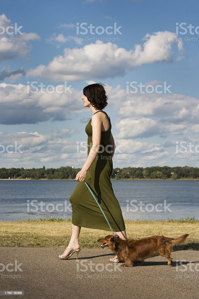 Young Woman Walking with the Dachshund royalty-free stock photo