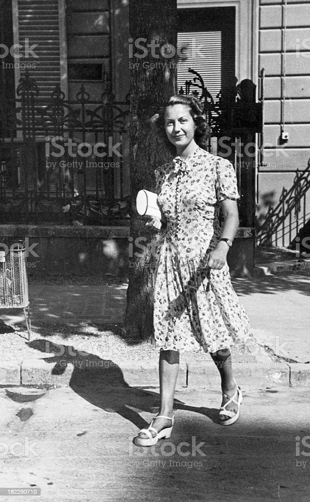 Young Woman Walking.Black And White. royalty-free stock photo