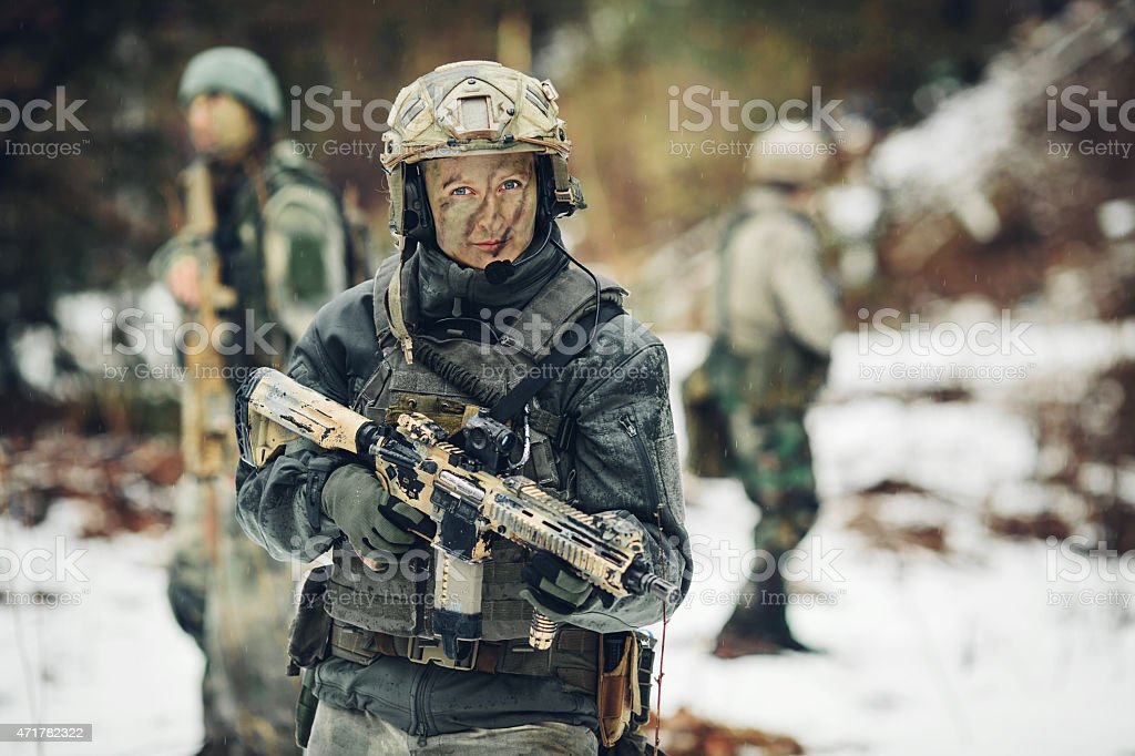 young woman Warrior member of ranger squad stock photo