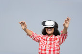 Young Woman Wear Virtual Reality Digital Glasses African American Girl