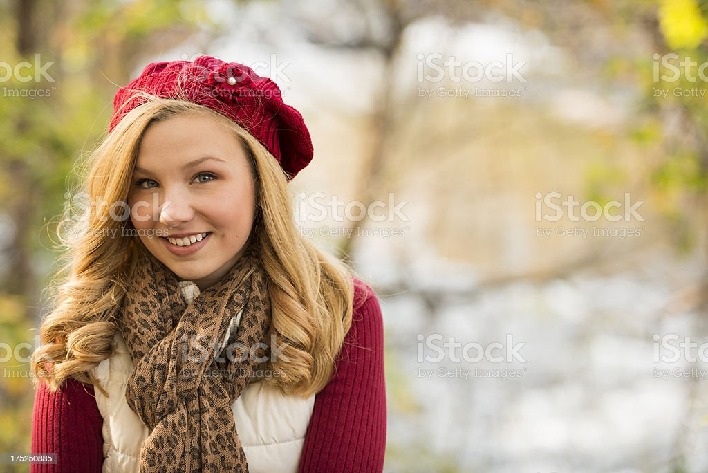 Young Woman Wearing a Beret Outdoors royalty-free stock photo