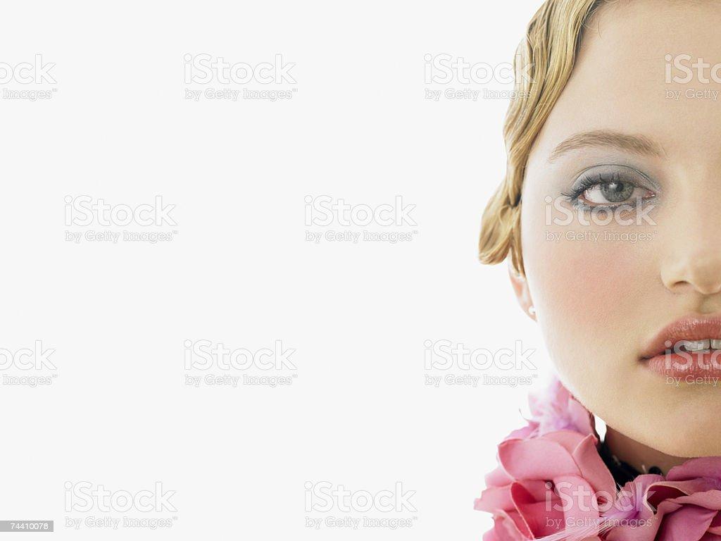Young woman wearing a choker stock photo