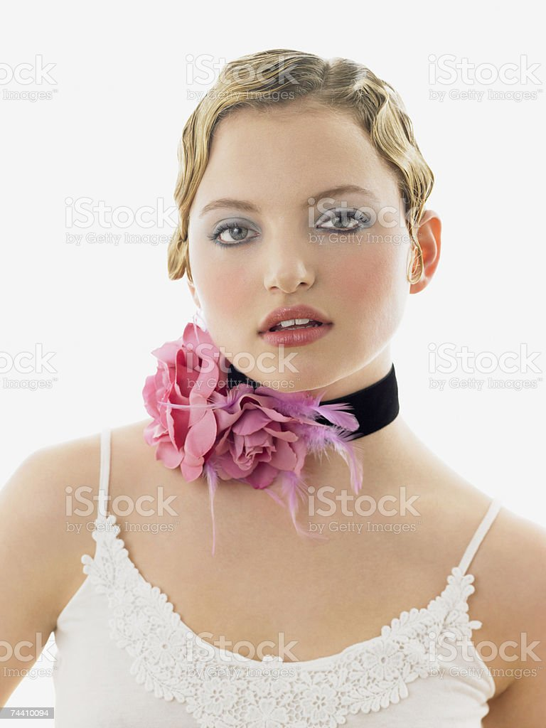Young woman wearing a choker royalty-free stock photo