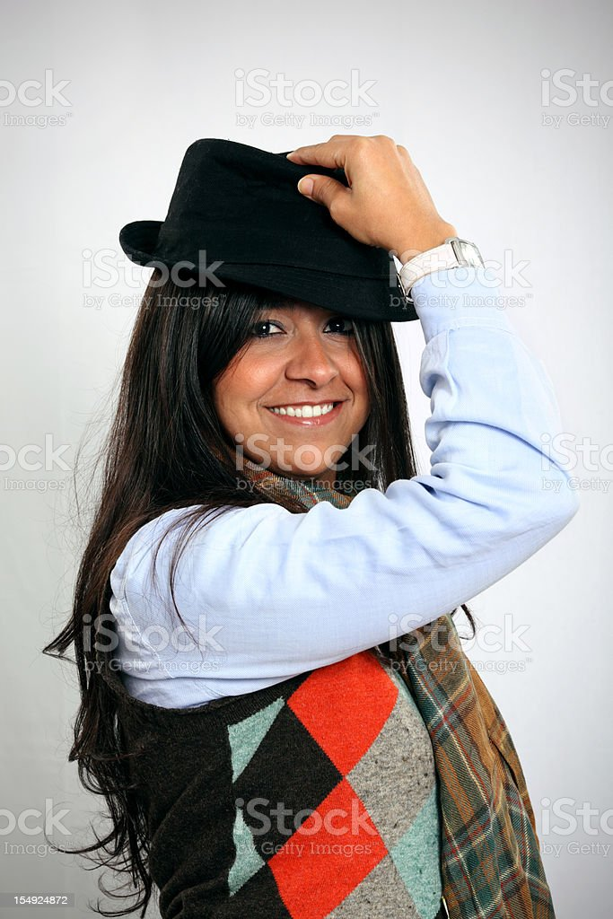 Young Woman Wearing a Fedora stock photo