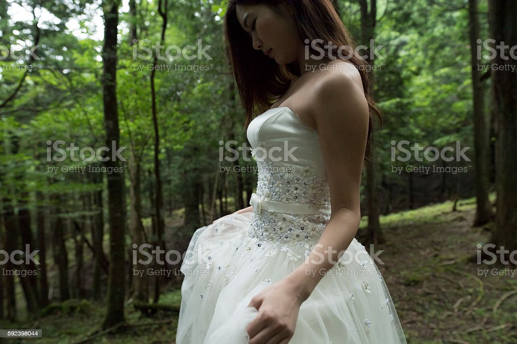 Young woman wearing a wedding dress. stock photo