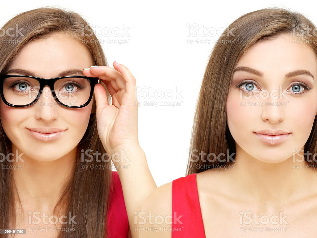 Young woman wearing black glasses and  girl without it stock photo