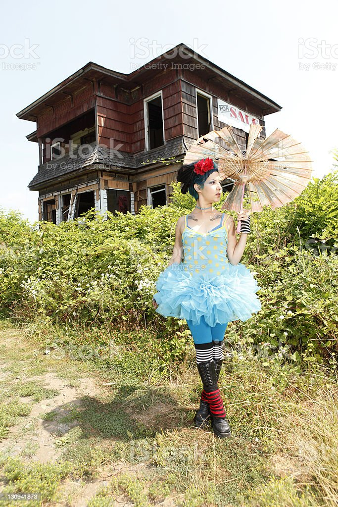 Young woman wearing blue tutu royalty-free stock photo