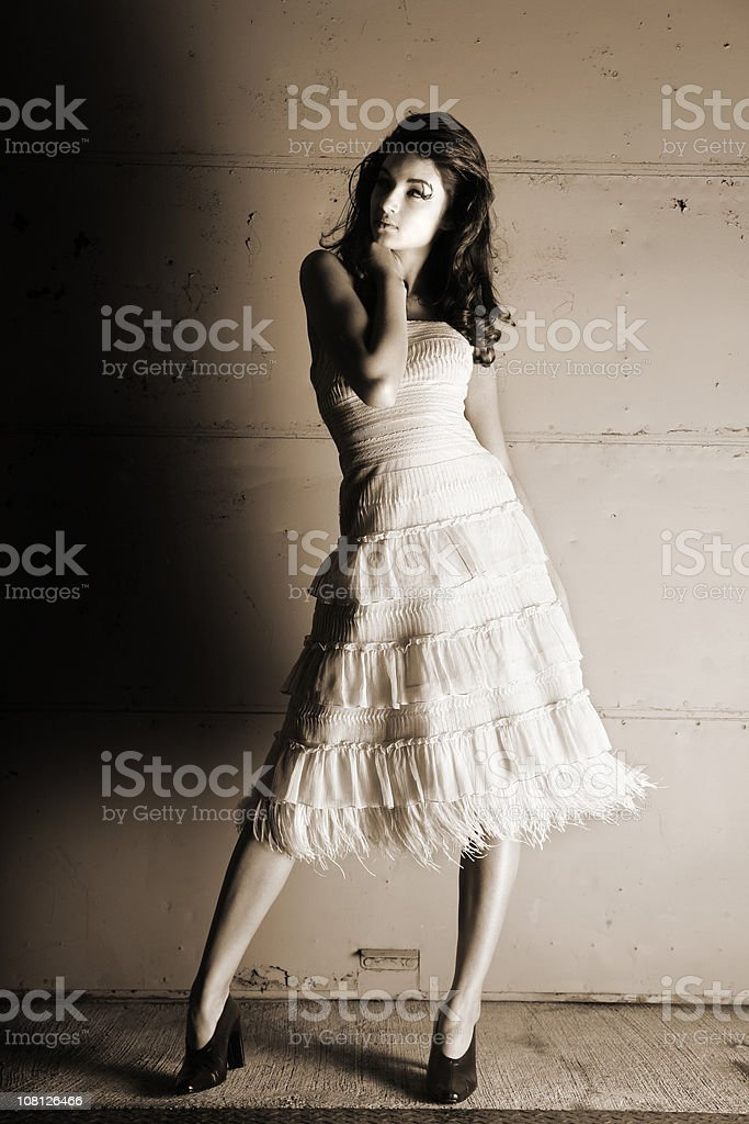 Young Woman Wearing Dress and Posing, Sepia Toned royalty-free stock photo