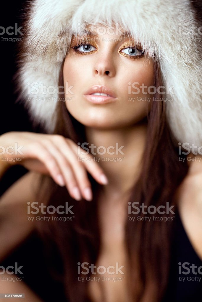 Young Woman Wearing Fur Hat royalty-free stock photo
