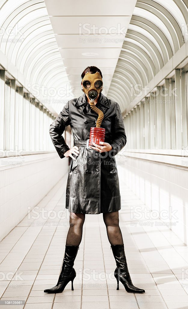 Young Woman Wearing Gas Mask royalty-free stock photo