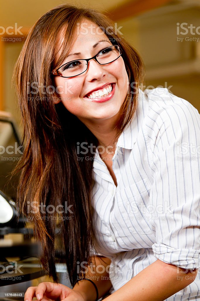 Young Woman Wearing Glasses stock photo