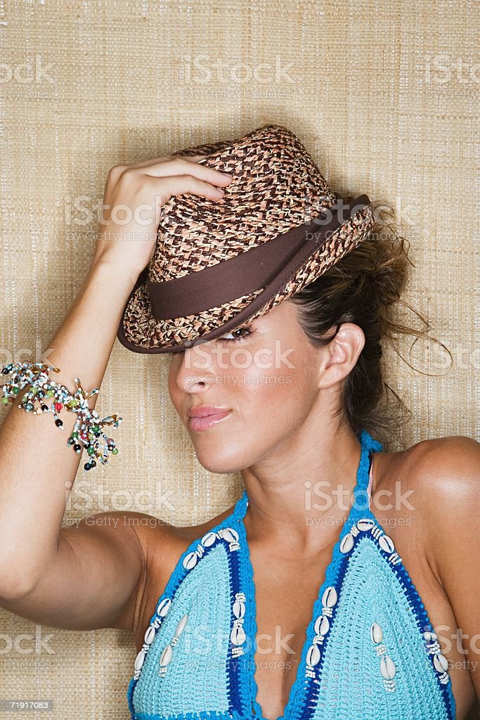 Young woman wearing hat royalty-free stock photo