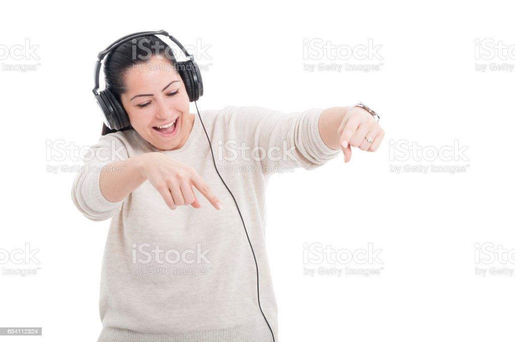 Young woman wearing headphones stock photo
