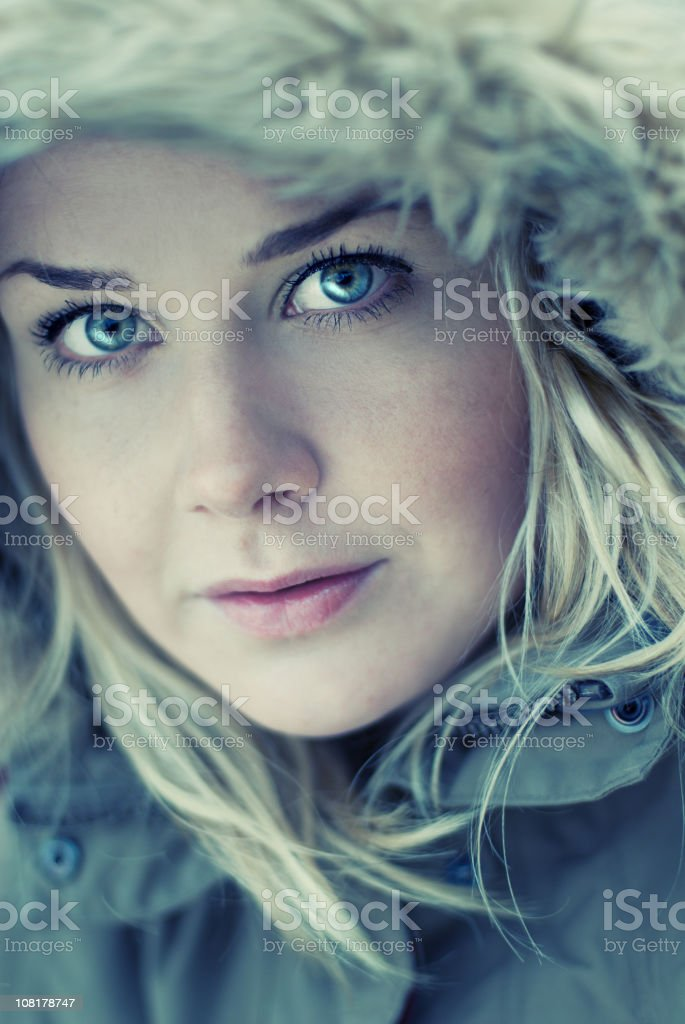 Young Woman Wearing Hood royalty-free stock photo