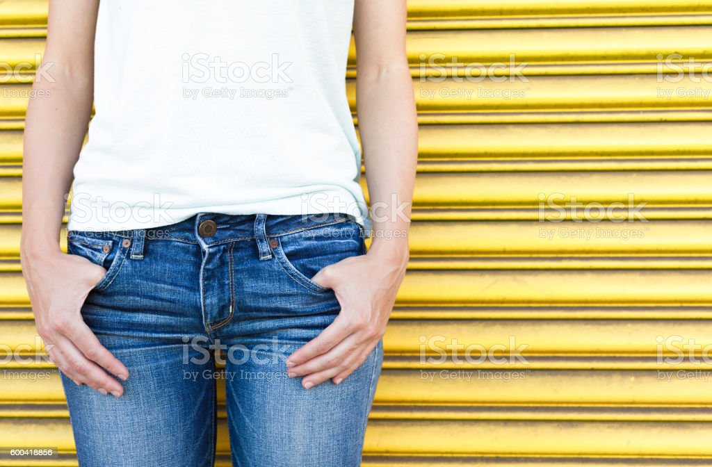 Young woman wearing jeans stock photo