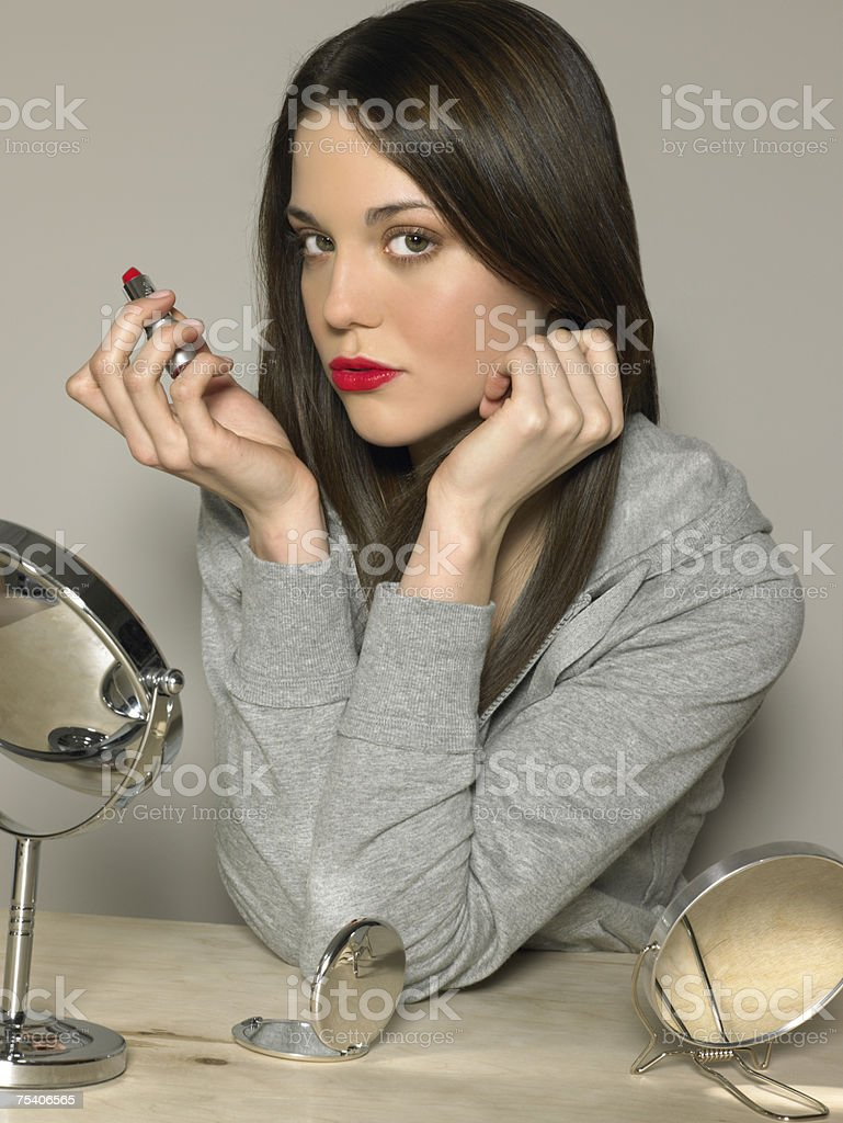 Young woman wearing red lipstick stock photo