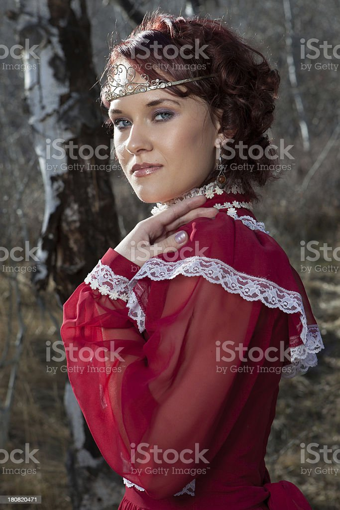 Young Woman Wearing Red Medieval Gown royalty-free stock photo