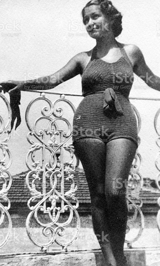 Young Woman Wearing Swimwear in 1930. Black And White royalty-free stock photo