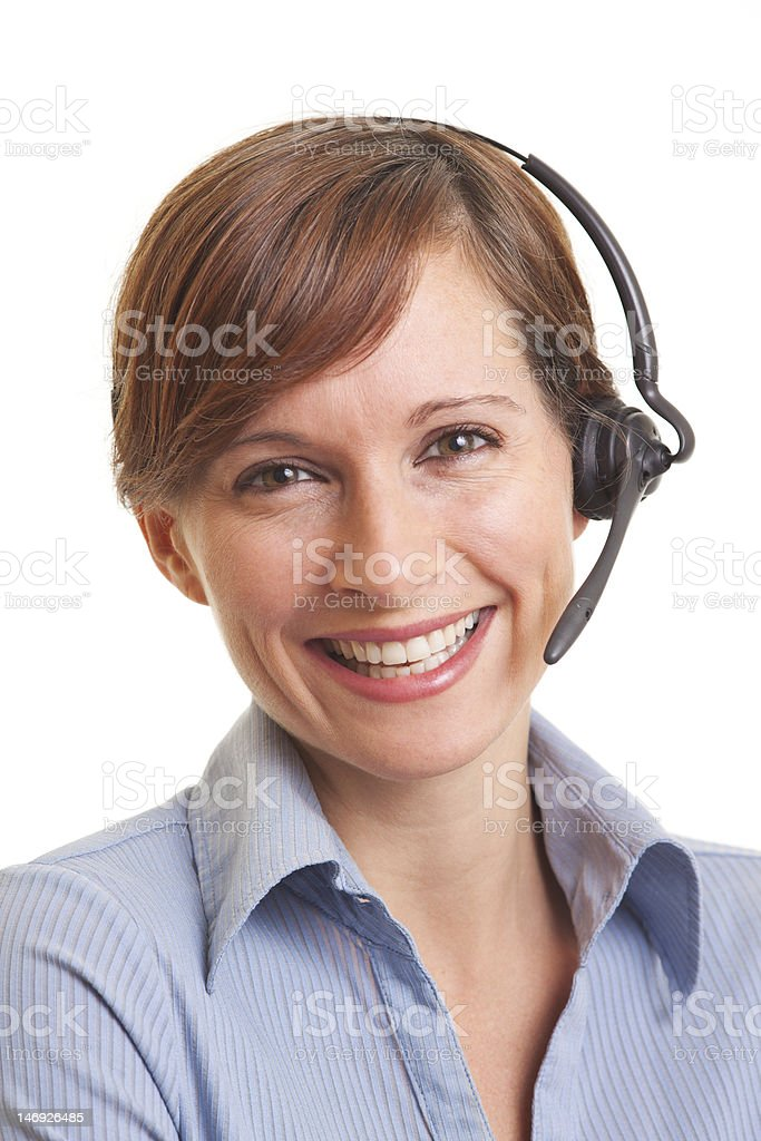 Young woman wearing telephone headset royalty-free stock photo