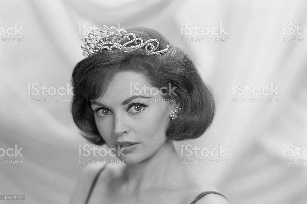Young woman wearing tiara, portrait stock photo