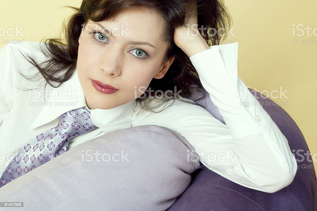young woman wearing tie royalty-free stock photo