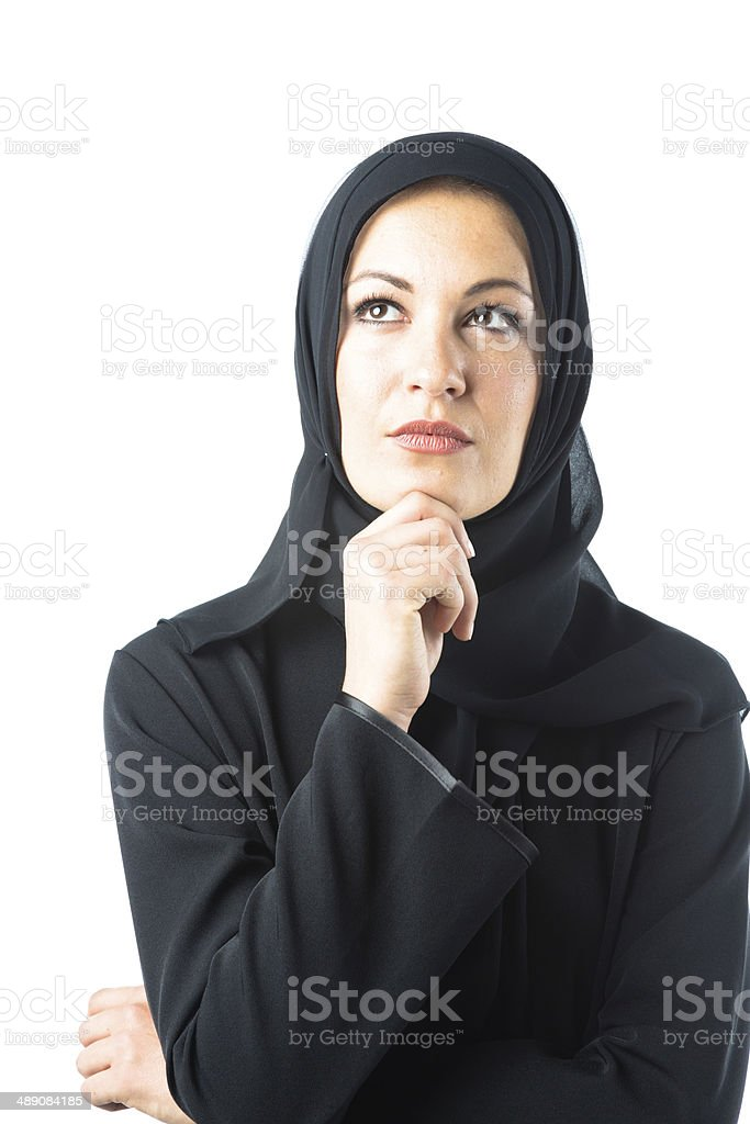 young woman wearing traditional arabic clothing stock photo