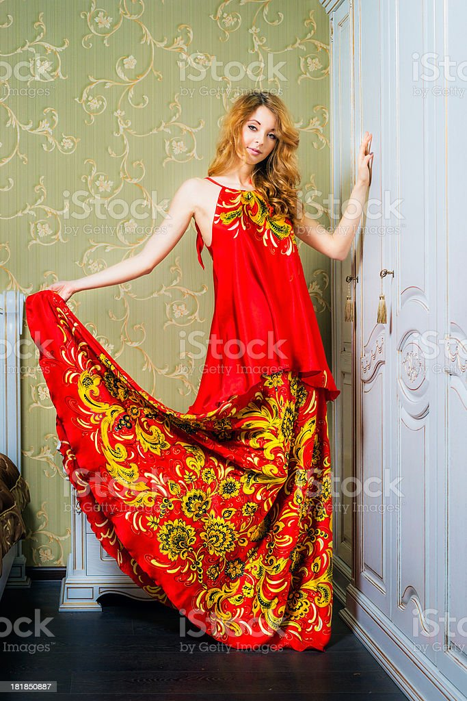Young woman wearing traditional russian dress royalty-free stock photo