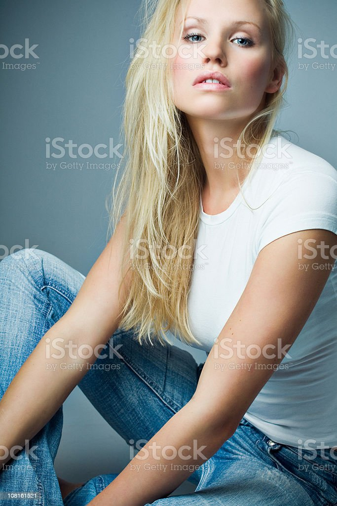 Young Woman Wearing T-Shirt and Jeans royalty-free stock photo